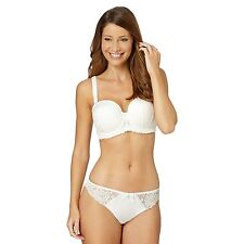 Gorgeous Womens Ivory Lace Underwired Padded Balcony Strapless Bra