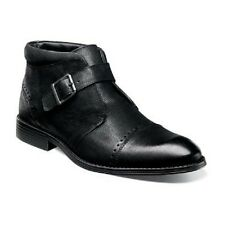 New Stacy Adams Rawley Cap Toe Monk Strap Boot Black soft Leather 25062-001