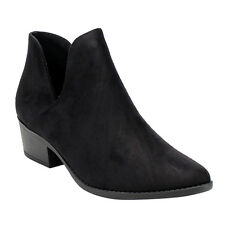 Soda IB83 Women's Side Cut Stacked Block Heel Western Ankle Booties New In Box