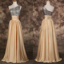 Sequins One Shoulder Long Carpet Pageant Wedding Prom Dress Formal Evening Party