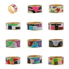 Fashion Gold Plated Ring Band Women Ladies Multi-Color Enamel Ring US Size 7