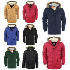 Mens Parka Parker Hood Padded Lined Winter Jacket Faux Fur Hooded Coat S-XL