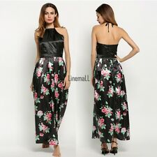 New Sexy Women Backless Prom Party Long Dress Floral Formal Evening Gown Dress L