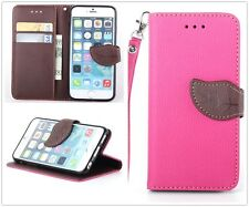Hot Pink Leather Brown Leaf Buckle Flip Stand Wallet Case Cover For Cell Phones