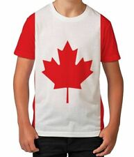 Canada Flag Maple Leaf Red and White Canadian Boys Kids Child T Shirt Ages 3-12