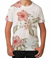 White Hibiscus Floral Pattern Summer Holiday Boys Kids Child T Shirt Ages 3-12