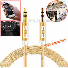 ®ETS 3.5MM Jack Audio Aux Cable Male To Male Speakers Mobile Headphones MP3 Gold