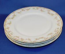 3 Theodore Haviland Limoges Dinner Plates, Antique France, Pink Roses