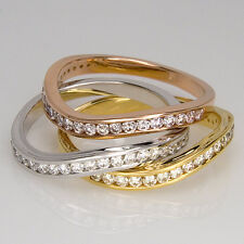 Natural Diamond in 14K Gold Ring - Pink, White and Yellow Diamonds Gold Band