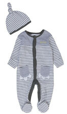 Baby Boys Striped Dinosaur Sleepsuit and Cradle Cap Set Newborn to 9-12M
