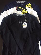 NWT Under Armour Boys Long Sleeve Solid Color Heat Gear UPF 30+ Fitted Shirt