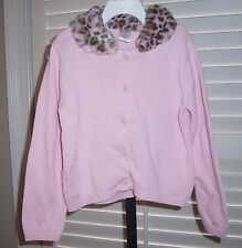 GYMBOREE Outlet Girls Sweater Size 6 KITTY GLAMOUR Faux Fur Cardigan Cotton NEW