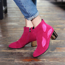 Hot Womens Suede Pointy Toe Chunky High Heels Fashion Shoes Pumps Ankle Booties
