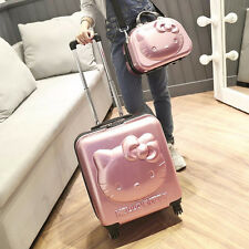 Hello Kitty 3D Rolling 2 Suitcase Set Luggage Trolley Women Airplane Travel Bag
