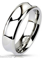 Mens Wedding Band Ring Concave 7mm Stainless Steel Classic Comfort Fit Polished