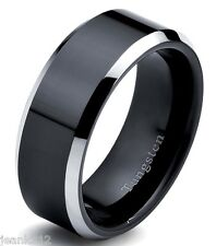 8mm Tungsten Carbide Men's Wedding Band Ring Two Tone Black IP Plated