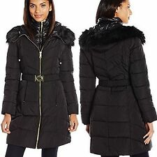 GUESS Coat Hooded Fur Trim Quilted Puffer Belted Jacket Black Burgundy пуховик