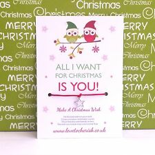 All I Want For Christmas Is You! Love Owls - Wish Bracelet/Stocking Filler Gift