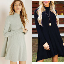 Women Autumn Winter Solid Sexy Evening Party Long Sleeve Sweater Mini Dress