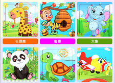 9pcs Gift Cartoon Animal Wooden Toy Jigsaw Puzzle Baby Educational Toy