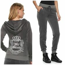 NWT JUICY COUTURE Tracksuit Velour Embellished Jacket Jogger Pants Women size L