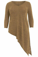 Womens Plus Size Camel Dipped Side Knitted Top Sizes 16-26
