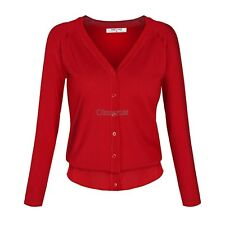Women Casual Long Sleeve V Neck Button Knitting Sweater cardigan Coat Outwear OK