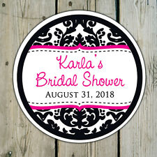 Round Custom Damask Favor Stickers Labels - Wedding Shower Personalized
