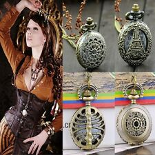 Antique Vintage Bronze Steampunk Chain Quartz Pendant Pocket Watch Necklace OK