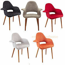 SET OF 2 MID-CENTURY MODERN SAARINEN TWILL ACCENT DINING ARM CHAIRS -5 COLORS!