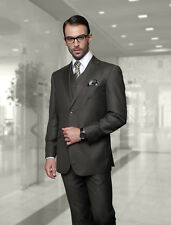 BRAND NEW OLIVE MENS 3PC 2 BUTTON SUIT,VESTED & PLEATED PANTS