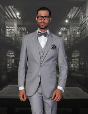 BRAND NEW GRAY MENS 3PC 2 BUTTON SUIT,VESTED & PLEATED PANTS