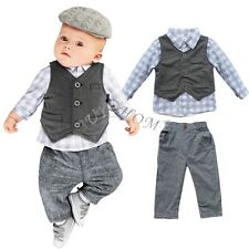 Newborn Toddler Baby Boy Waistcoat Shirt Overalls Pants Outfit Clothes 3PCS Set