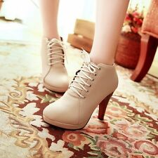 Womens Leather Platform Lace Up High Slim Heels Booties Ankle Martin Boots Shoes
