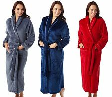 WOMEN'S INDIGO SKY LUXURIOUS SOFT LONG WRAP DRESSING GOWN/FLEECE BLUE/PLUM S-L