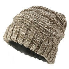 Ladies Two Tone Oversized Cable Knit Beanie Hat