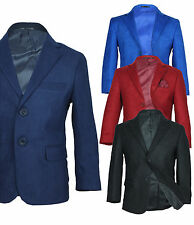 Boys Formal Faux Suede Blazer Jacket Page Boy Wedding Prom Jacket