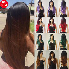Real Thick Syntehtic Hair Full Wig Long Curly Wave Straight Ombre Black Red Grey