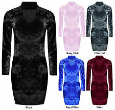 Women Ladies Long Sleeve Choker Neck Bodycon Velvet Crushed Velour Mini Dress