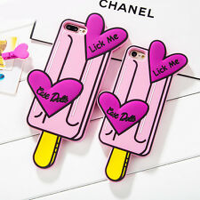 Cute Pink Love Heart Icecream Soft Silicone Case Cover for Apple iPhone 7 7Plus