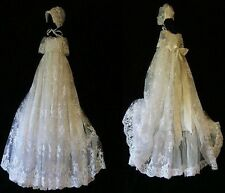 Luxury Silk Lace Baby Girls Christening Baptism Gown+Bonnet Size 0000-1 2Y WHITE