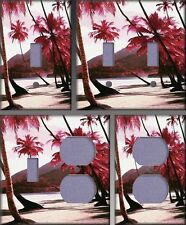 Red Palm Trees Along Beach Wall Decor Light Switch Plate Cover