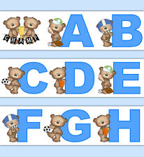 Teddy Bear Sports Nursery Decals Alphabet Wallpaper Border Boy Wall Art Stickers