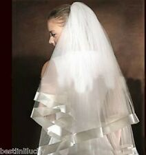 New Wedding bridal Veil With Comb Ribbon Edge white ivory 2t Tulle Elbow Length