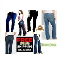 JACK-D Womens Plus Size PETITE Bootcut jean Stretch BLUE BLACK Denim JEANS Pants