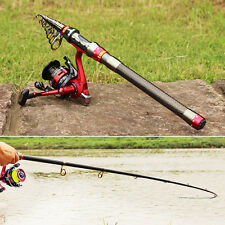 Travel Size Fishing Rod with Reel Combos Set Portable Spinning Fishing Tackles
