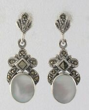 Inlay Stone Oval Drop Marcasite 925 Sterling Silver Stud Earrings