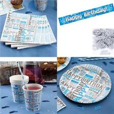 Blue Happy Birthday Tableware -  Party Set - Cups Banner Napkins Banner Plates