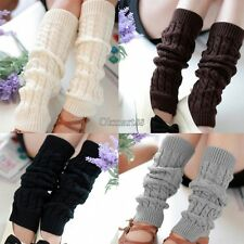 Womens Winter Warm Leg Warmers Cable Knit Knitted Crochet Socks Leggings OK