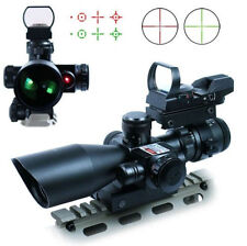 Tactical 2.5-10X40 Rifle Scope w/ Red Laser & Holographic Red/Green Dot Sight